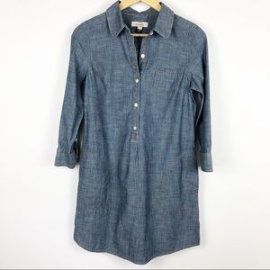Land's End Canvas Chambray Shirt Dress Size 4